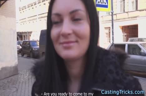 Русская деваха с улицы согласилась на любительский кастинг